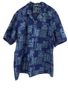Royal-Creations-Men-039-s-XL-S-S-Button-Front-Blue-Floral-Hawaiian-Shirt-Aloha