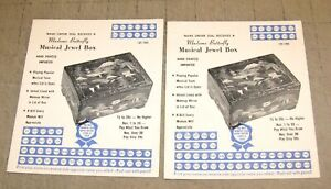 2-Vtg-WIN-A-MADAME-BUTTERFLY-MUSICAL-JEWELRY-BOX-Punch-out-Gambling-Cards-39c