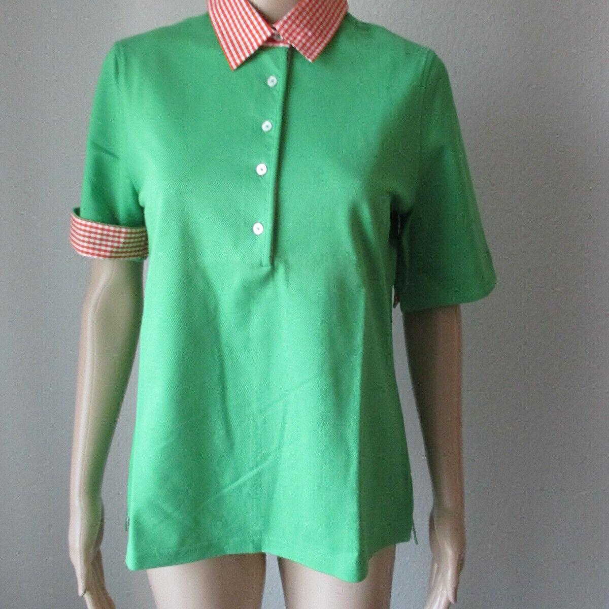 B. M. Company Polo Shirt mit Knopfleiste in grün mit kariertem Kragen, Größe 36