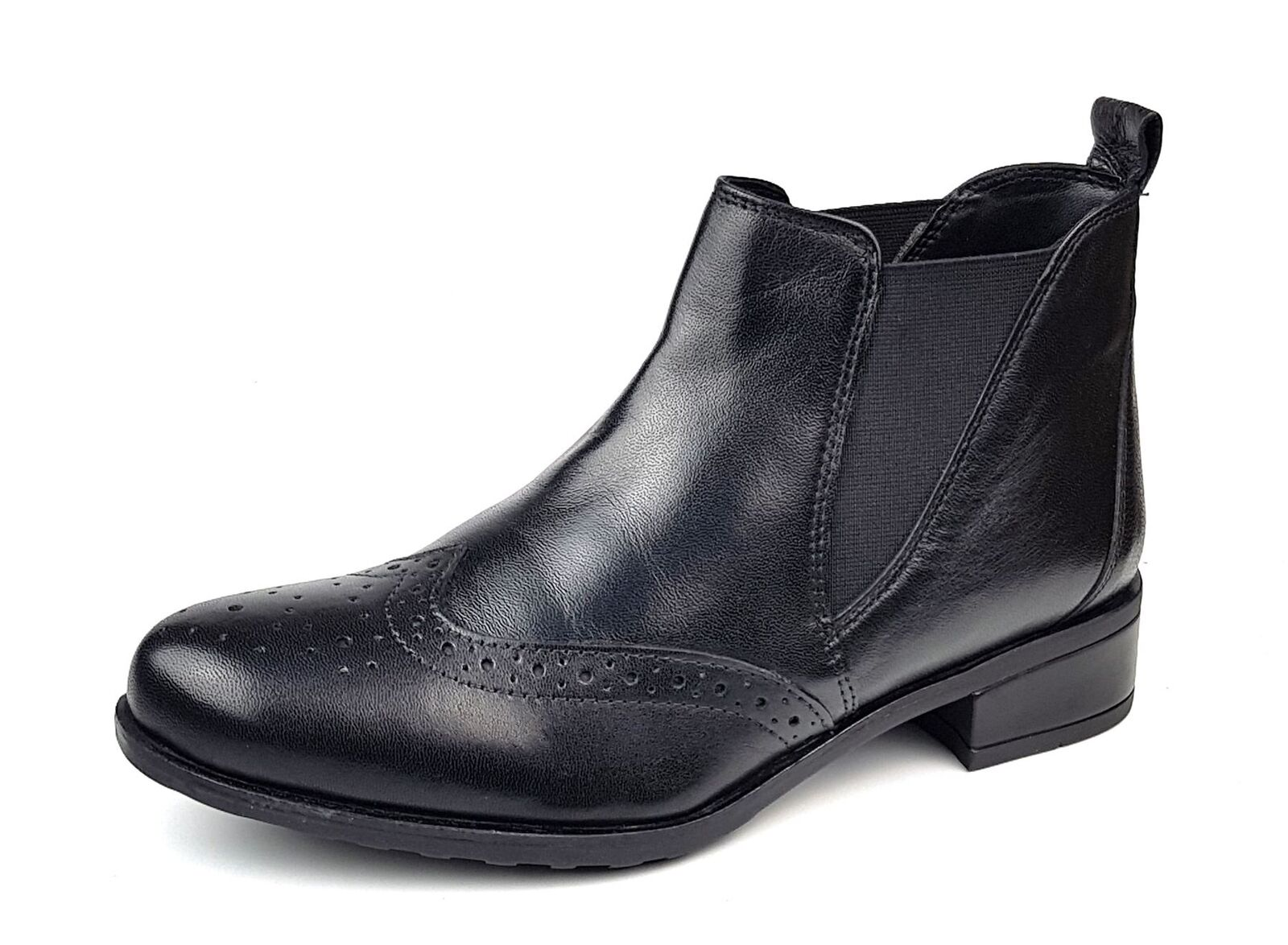 Comfort Plus Ladies Womans Leather Chelsea Boots Black 3 4 5 6 7 8