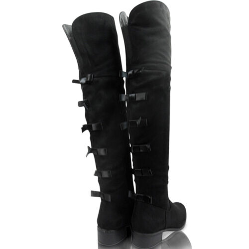 Womens Over Knee Low Block Heel Boots Shoes Size Ribbons Ladies Zip Party Casual