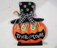 Wood & Metal Orange Pumpkin Halloween Desk Trick O Treat Autumn Decoration