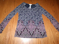 Womens Lizwear Peasant Top Shirt Purple Gray Blue Long Sleeve S Small S
