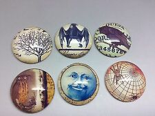 Owl Bat Raven Moon Tree Spider Domed Glass Oval Cabochons, Mixed Colour x6 pcs