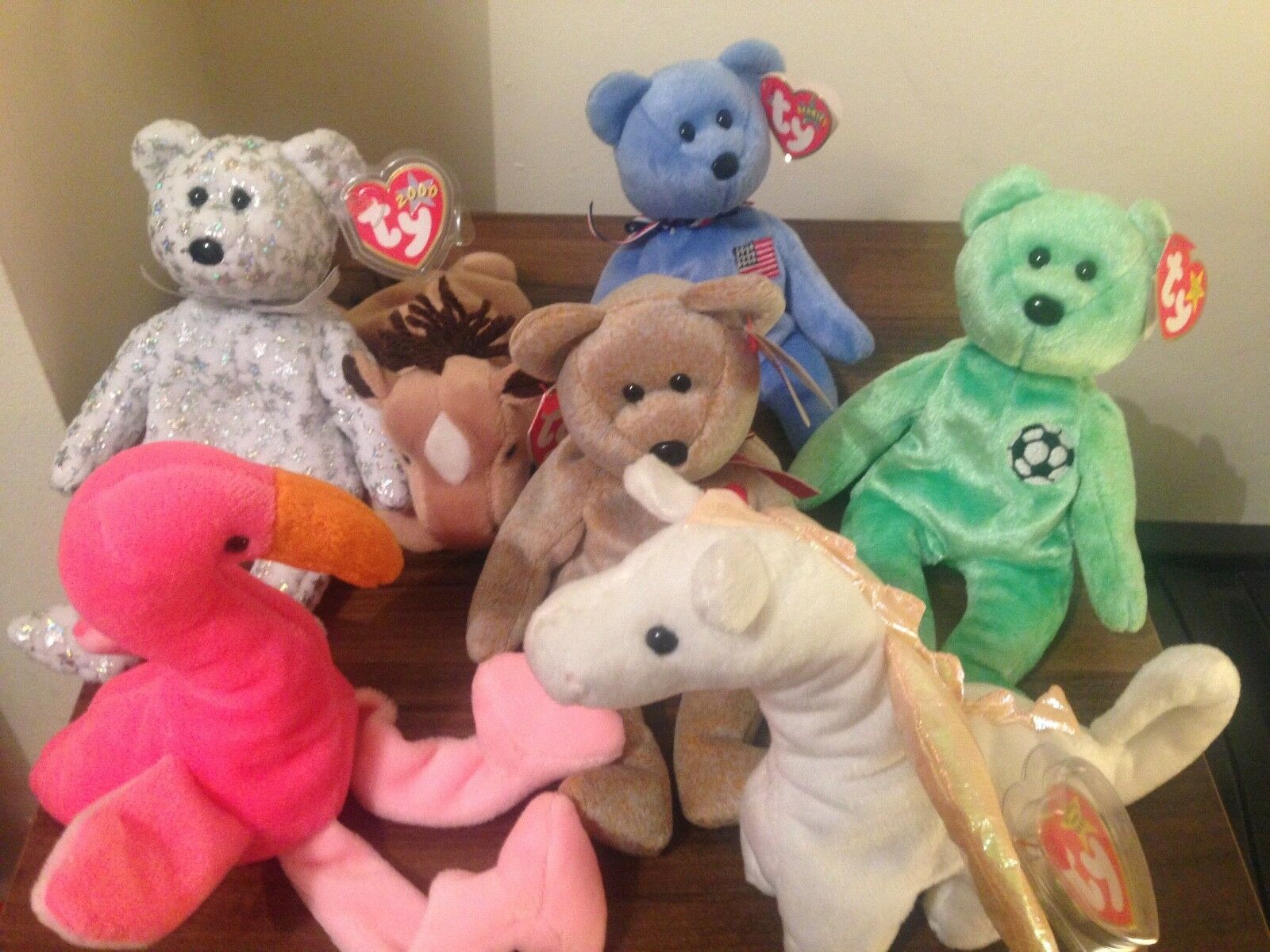 7 Original beanie babies PVC pellets. Excelllent condition with tags.