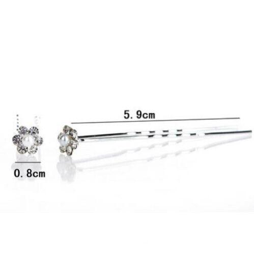 Wedding Bridal Pearl Crystal Rhinestone Floral Hair Pins Grips Slides Flower Lot