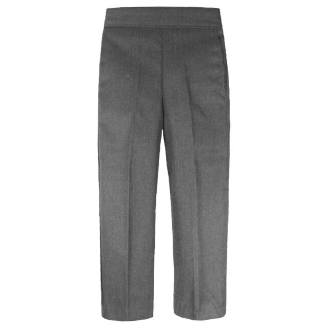Lord School Boys Uniform Half Elastic Pull Up Trousers Grey Teflon Coated