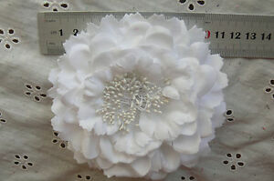 WHITE-Flower-BROOCH-PIN-with-HAIR-CLIP-Ready-to-wear-Fabric10-11cm