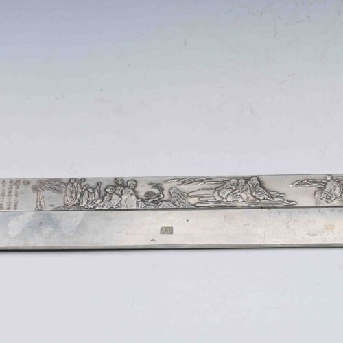 COLLECTIBLE CHINESE SILVER COPPER HANDWORK LANDSCAPE /& ROHAN PAPER WEIGHT