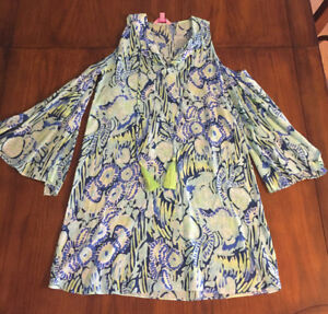 28031fc4352 LILLY PULITZER NWOT XXS XS BENICIA DRESS COLD OPEN SHOULDER INDIGO ...