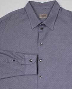 ARMANI-COLLEZIONI-Recent-Blue-White-Pattern-Slim-Fit-Cotton-Dress-Shirt-XXL