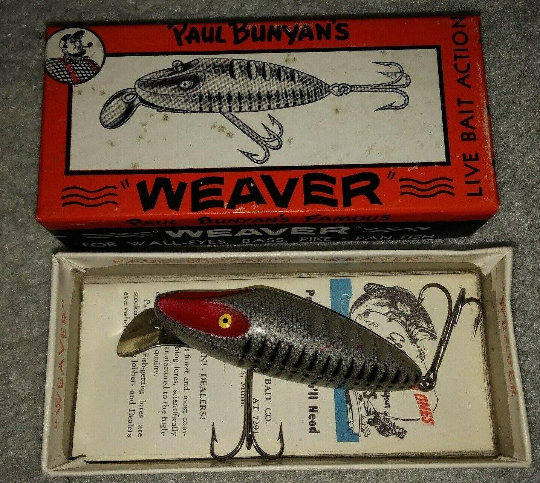 Vintage Señuelos Paul Bunyan 1900 Weaver Caja y catálogo papeleo Completa