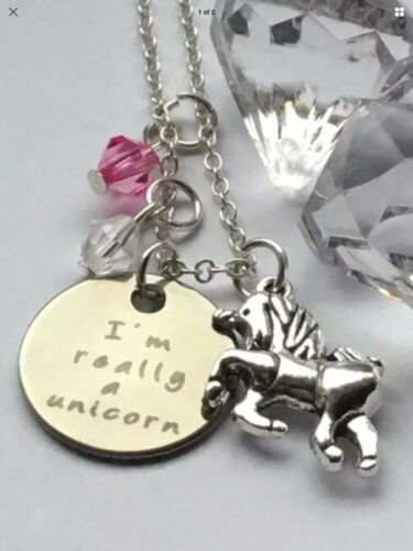IM REALLY A UNICORN Love Fairytale Fantasy Alloy Pendant Necklace Gift Pouch UK