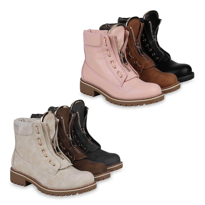 Damen Outdoor Leicht Gefütterte Stiefeletten Worker Boots 819162 Schuhe