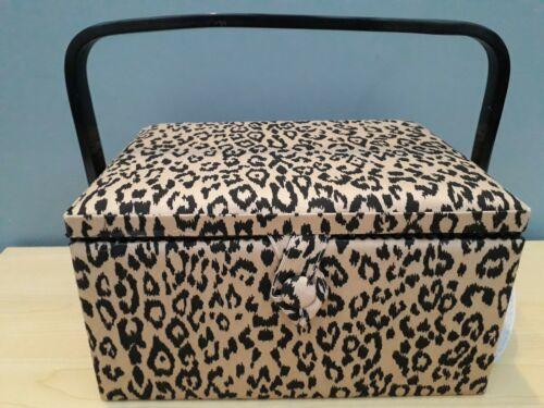 BNWT Hobby Regalo Mediano Negro//Marrón Leopardo Caja de Coser cubierto de tela