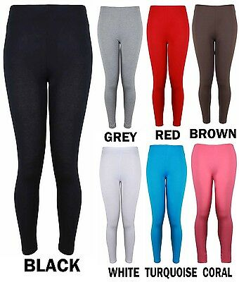 New Ladies Plus Size Plain Stretchy Viscose Black Full Length Womens Leggings