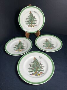 SPODE-CHRISTMAS-TREE-Bread-and-Butter-Plates-6-1-2-Set-Of-4-Made-in-England