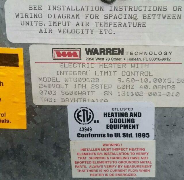 Trane BAYHTR1410A0 9 6kw Supplementary Electric Heater w/60 amp breaker