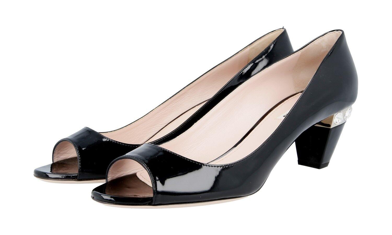 Lujo Miu Miu Miu Miu zapatos de salón con pedrería 5k8306 negro nuevo New 41 41,5 UK 8  marcas en línea venta barata