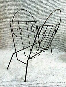 Mid-Century-1960-039-s-11x15x16-Old-Black-Steel-Wire-Vintage-Magazine-Rack-FREE-S-H