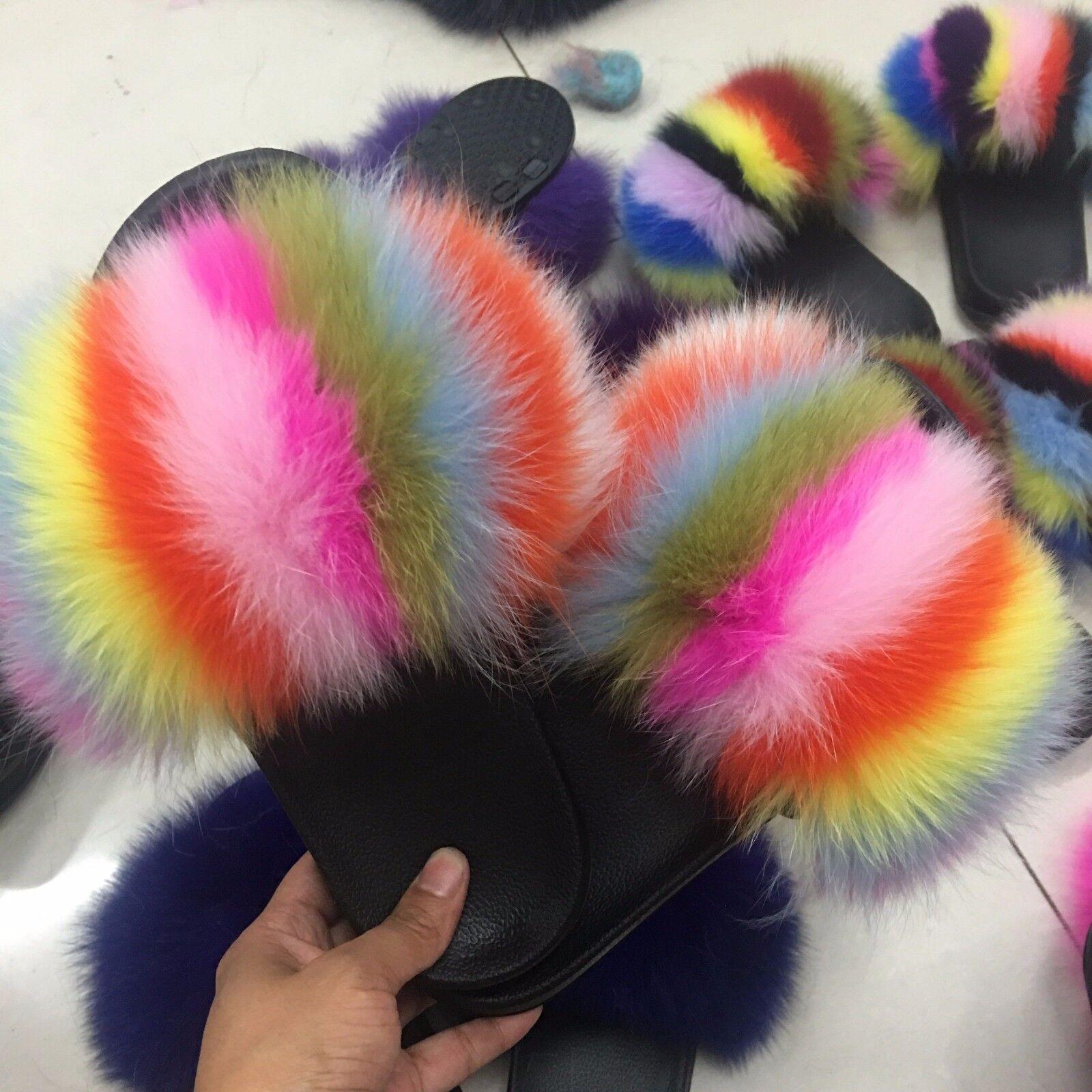 Women's Real Fox/Raccoon Fur Slippers Sandals Fur Shoes Fur Sandals Slides Indoor Outerdoor 2df070