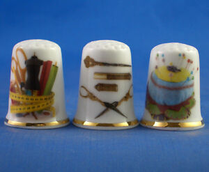 FINE-PORCELAIN-CHINA-THIMBLES-SEWING-TOOLS-COLLECTION