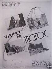 PUBLICITÉ 1933 Cie DE NAVIGATION PAQUET VISITEZ LE MAROC - ADVERTISING
