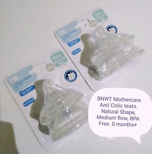 Medium Flow 4 Packs Of 2  Mothercare Natural Shape Anti-Colic Bottle Teats 0m