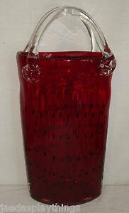 Blown-Glass-Vase-Watermelon-Seed-Red-Art-Glass-HUGE-16-034-Vtg-Purse-Bag