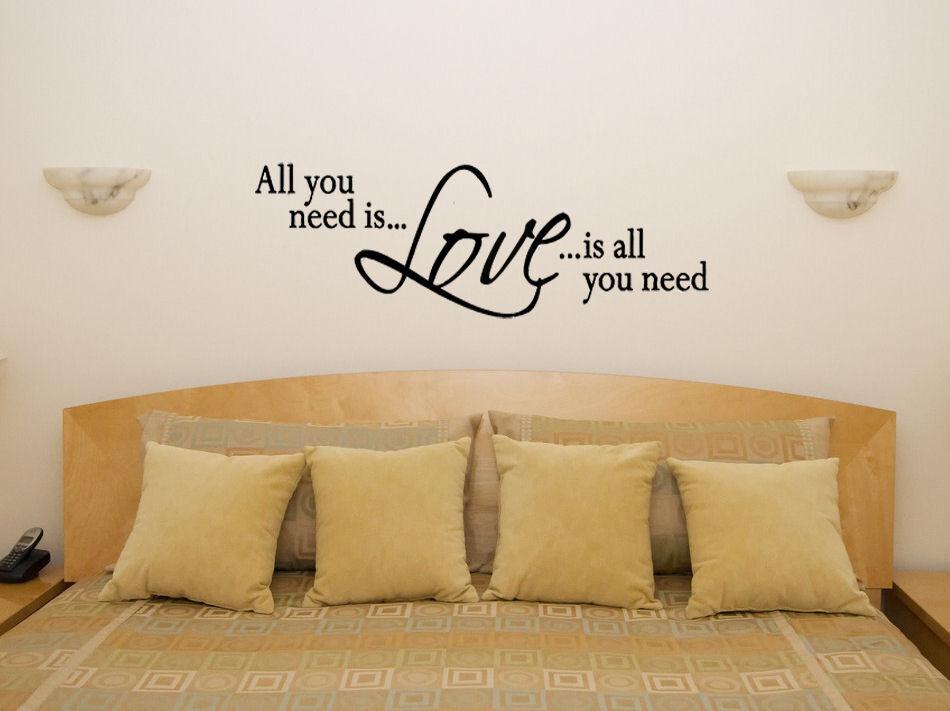 Love Is All You Need camera da letto letto letto soggiorno CENA DECALCOMANIA 6a726d