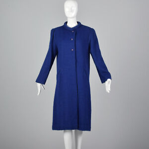 Printemps 1980 Mohair Vtg Automne Magnin M Royal Bouton Manteau Poids I 80s Avant Blue Ba8d8xqw