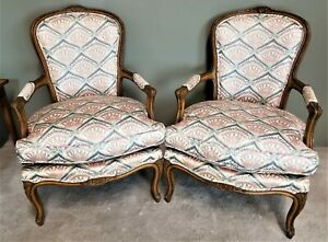 Pair-of-Vintage-French-Provincial-Louis-XV-Hand-Carved-Wood-Bergere-Armchairs