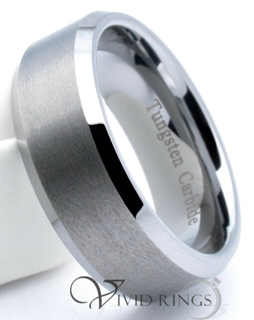 Mens Tungsten Carbide Wedding Band Matte Finish Ring 8mm Men's Size 7.5 to 14.5