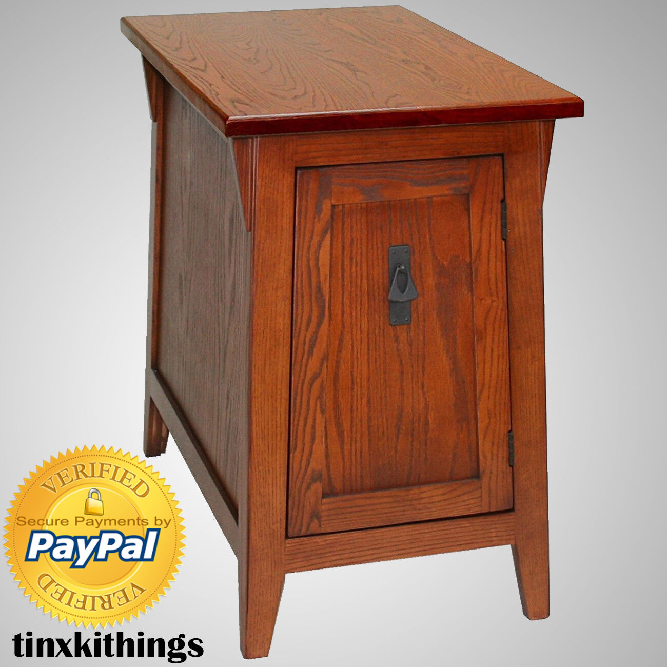 Cabinet End Side Table Storage Shelves Living Room Accent Wood Mission Style For - Side Table With Storage Shelves