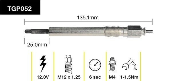 TRIDON GENUINE GLOW PLUG TGP052 FOR HOLDEN RODEO TF99 3.0L
