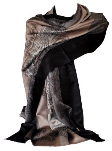 Self-Embossed Paisley Border /& Motif Beige Grey Stripes Pashmina Feel Scarves