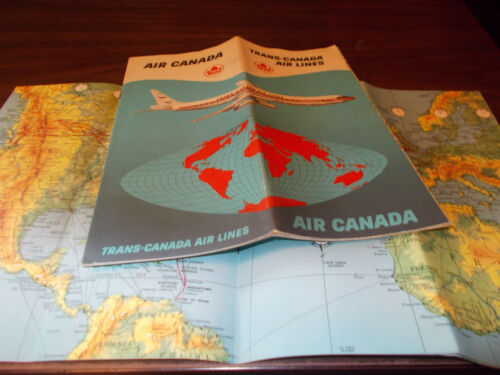 1961 TransCanada Airlines Route Map and Brochure Nice graphics!