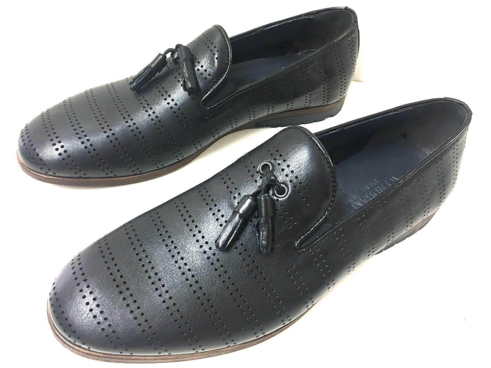 Neue MODE ALESSANDRINI mocassino loafer Scarpe Nero in Pelle Uomo Scarpe loafer design foro Slipper 22dcb2