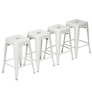 Superb Details About Set Of 4 White Metal Bar Stools 24 26 30 Counter Height Barstool Stackable Seat Ncnpc Chair Design For Home Ncnpcorg