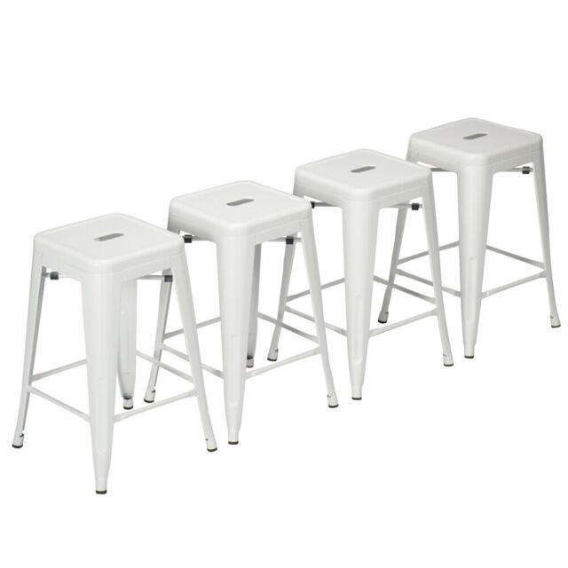 Incredible Set Of 4 White Metal Bar Stools 24 26 30 Counter Height Barstool Stackable Seat Inzonedesignstudio Interior Chair Design Inzonedesignstudiocom
