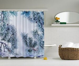 Image Is Loading Icy Pine Tree In Winter Snow Fabric Shower