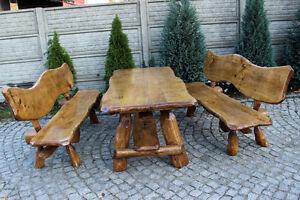 Sitzgruppe Gartenmöbel Massivholz Terrassenmöbel Eschepappeleiche