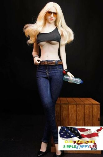 1//6 scale women Skinny Jeans Trousers Pants w// belts for phicen VERYCOOL  ❶USA❶