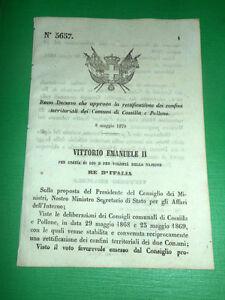 Regno-d-039-Italia-Regio-Decreto-Confini-Territoriali-Cossilla-e-Pollone-1870