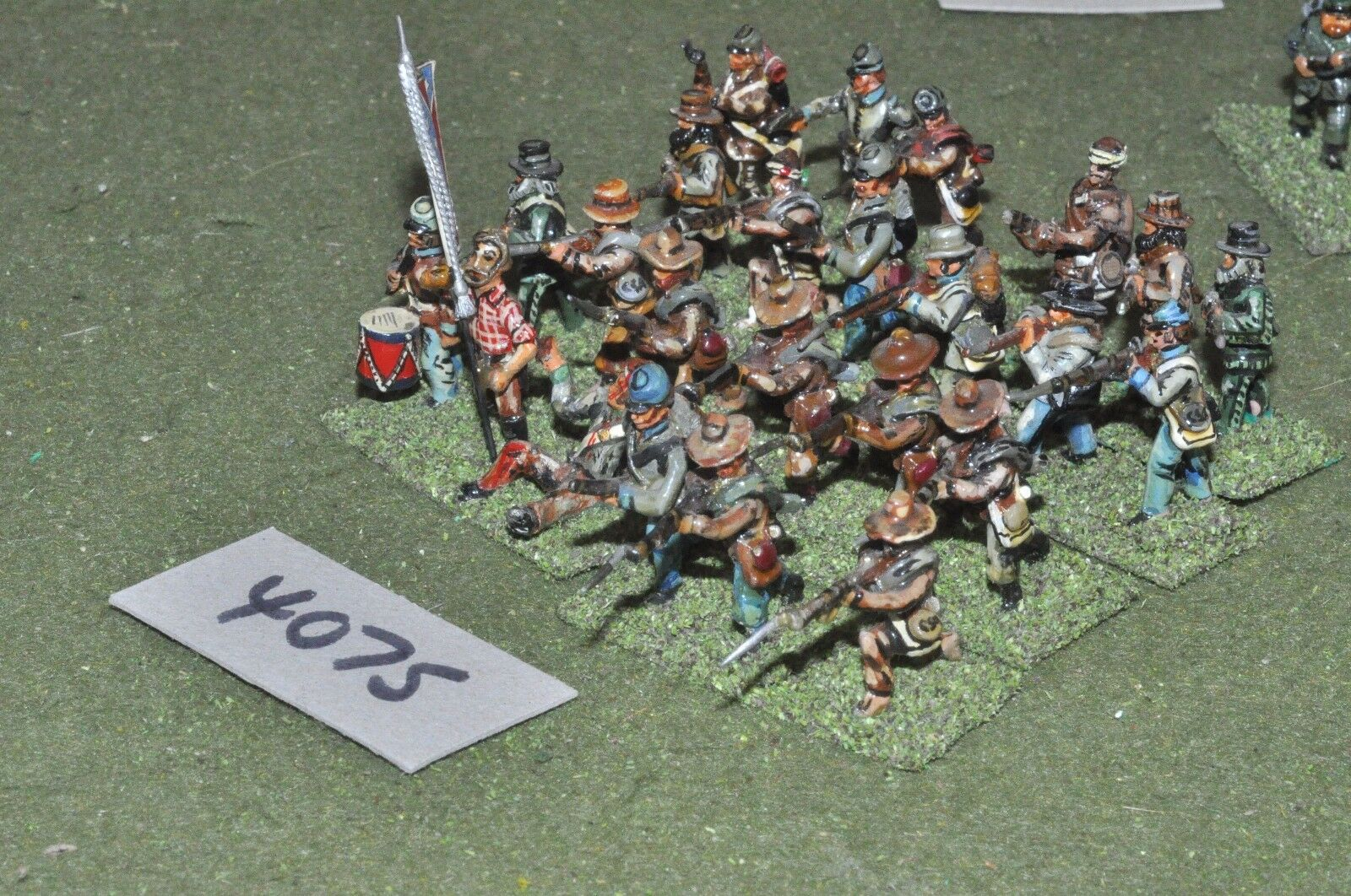 25mm ACW   confederate - american civil war 24 infantry metal - inf (4075)