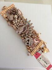 "Betsey Johnson ""Pinktina"" Peacock & Skull STATEMENT Toggle Bracelet $145"