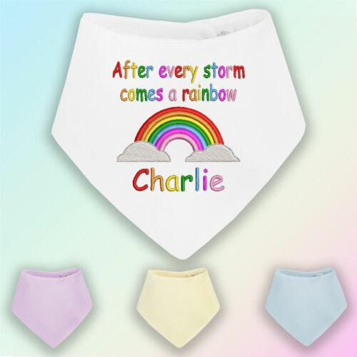 After Every Storm Comes a Rainbow Embroidered Baby Bandana Dribble Bib Gift