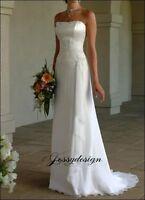 Schlichtes Brautkleid Standesamtkleid Abendkleid Chiffon Spitze Perlen Schnürt