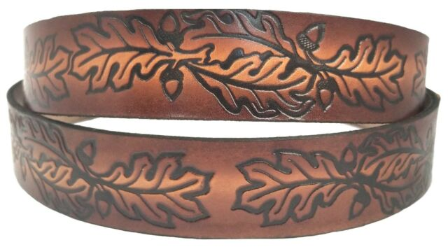 Belt Brown Hemp Leaf Cannabis with Buckle Embossed Cowhide Leather Made in USA