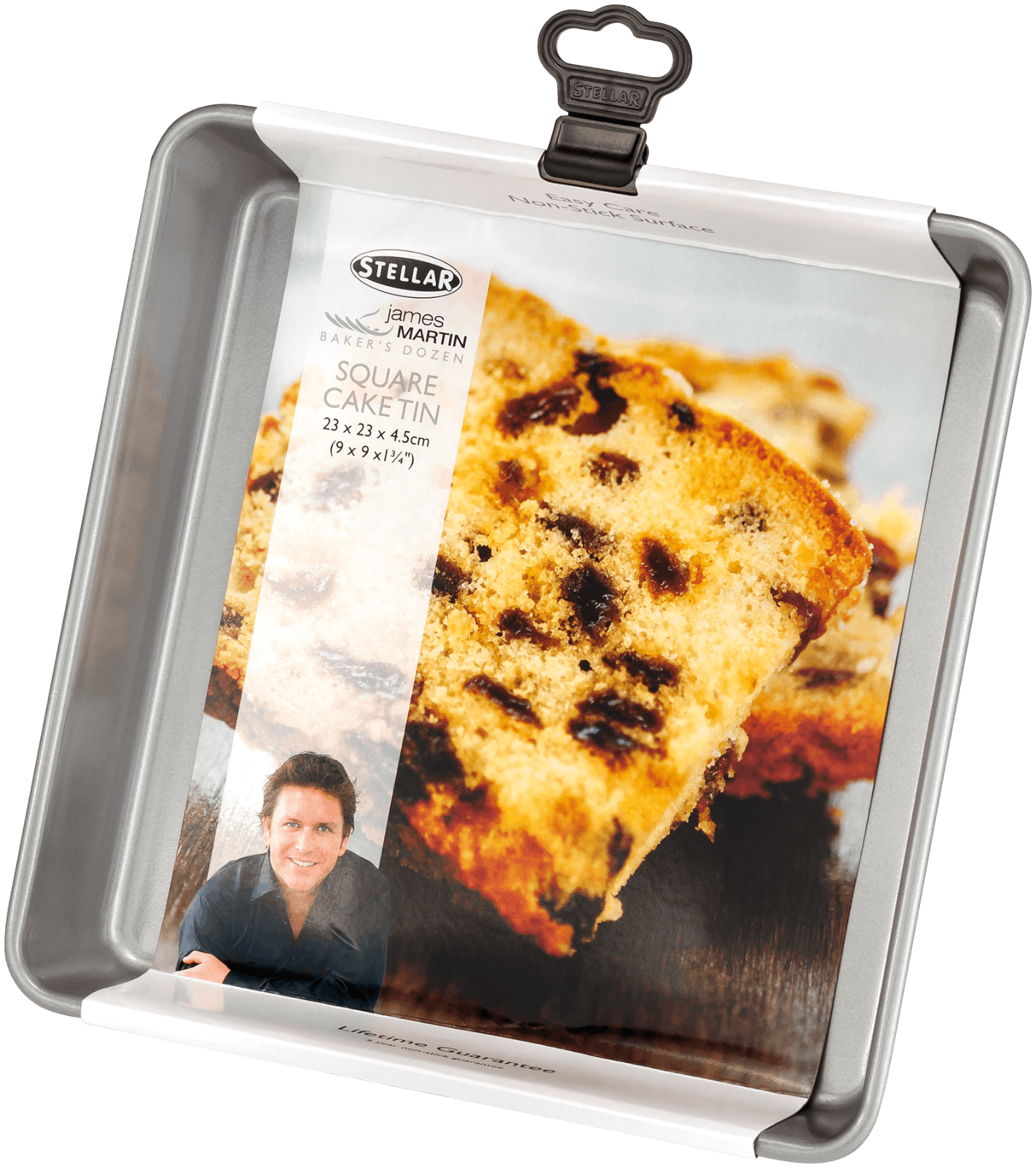 Stellar James Martin Non-Stick Square Cake Tin 23 x 23 x 4.5cm